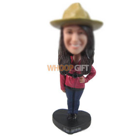 personalized custom lady in red coat and yellow hat bobbleheads