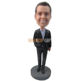 personalized gentleman in black suit bobbleheads