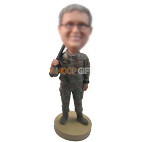 custom soldier in battle fatigues with gun bobbleheads