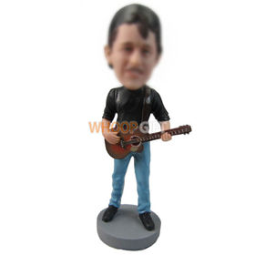 custom guitarist wearing back-to-front cap hat bobbleheads