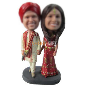 personalized custom couple in traditional clothes bobbleheads