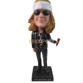 personalized custom rock singer with mic bobbleheads
