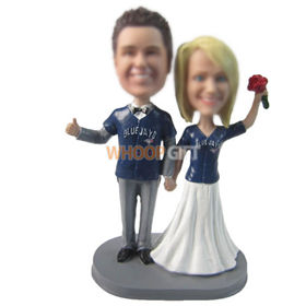personalized custom couple in T-shirts bobbleheads