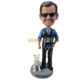 custom man in leather vest with dog bobbleheads