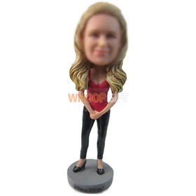 custom woman in red camisole and skinny pant bobbleheads
