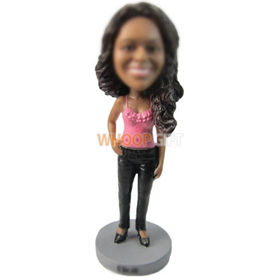 custom woman in pink camisole and skinny pant bobbleheads