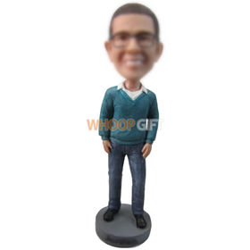 custom man in open-necked sweater and jeans bobbleheads