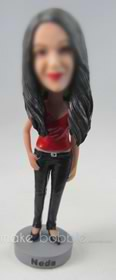 custom long-haired woman in camisole and skinny pant bobbleheads