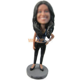 custom long-haired lady in camisole and skinny pant bobbleheads