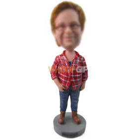 custom chubby man in red checked shirt and jeans bobbleheads
