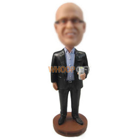 custom chubby businessman in suit with a glass of wine bobbleheads