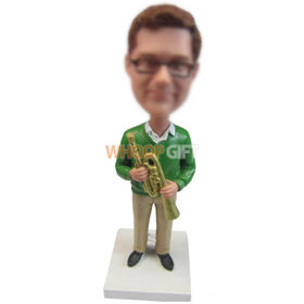 custom musician in sweater and khaki pant with trumpet bobbleheads