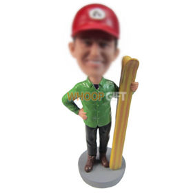 personalized custom man in red hat with skis bobbleheads