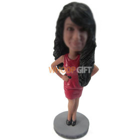 personalized custom long-haired woman in red dress bobbleheads