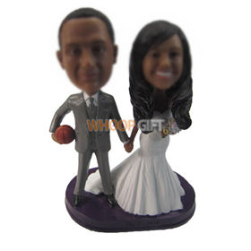 personalized custom sports style wedding cake topper bobbleheads