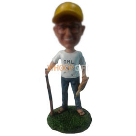 custom hunter in yellow hat with stick and wild duck bobbleheads
