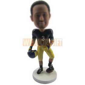 custom NFL football player bobbleheads with football and helmet
