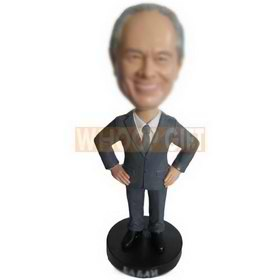 custom gray-haired businessman in grey suit and a blue tie bobbleheads