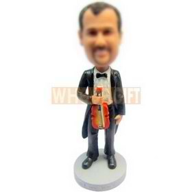 custom violinist wearing black tuxedo with a violin bobbleheads