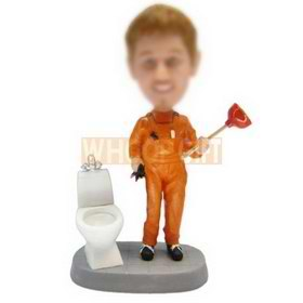 male plumber in orange uniform with a closestool and plunger bobblehead