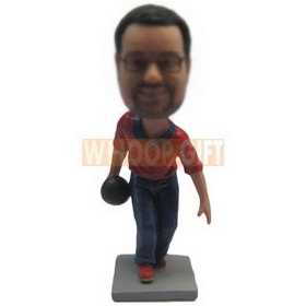 bowling player in red polo shirt blue jeans playing bowling bobblehead