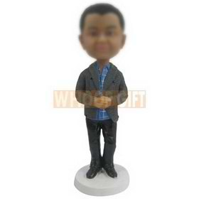 custom kid bobblehead in grey sweater blue checked shirt black pants