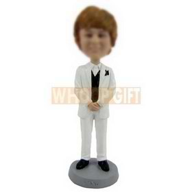 personalized custom fair-haired female bobblehead in white suit