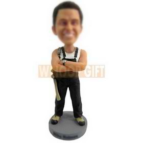 personalized custom woodworker wearing suspender trousers bobblehead