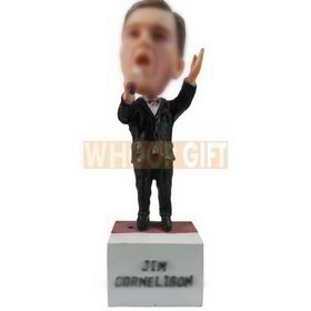 personalized custom singer in balck suit red tie with a mic bobblehead