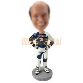custom male speed racer wearing motorcycle suit bobblehead