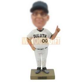 custom personalized duluth baseball player in white jersey bobblehead