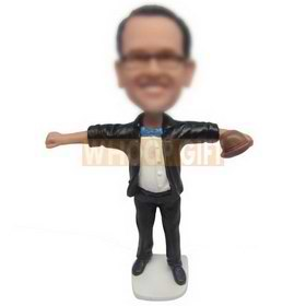 custom glasses male in black coat and pants with a hat in hand bobblehead