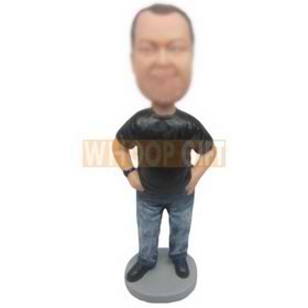personalized male in black t-shirt blue distressed jeans bobblehead