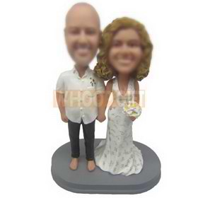 personalized custom couple bobbleheads in white