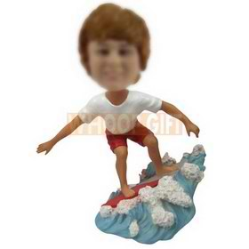 custom white t-shirt red shorts boy surfing with surfboard bobbleheads