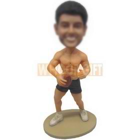custom NFL football player muscle man in dark blue shorts bobbleheads