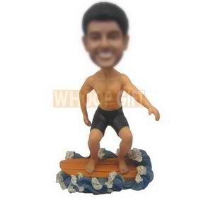 personalized custom male surfer on a surfboard bobbleheads