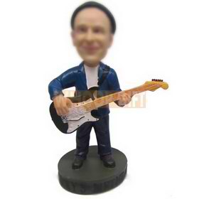 personalized custom male guitarist playing guitar bobblehead