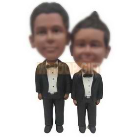 personalized brothers in black suits white shirts black ties bobblehead