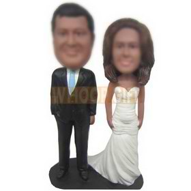 personalized wedding cake topper groom in black suit bride in white dress