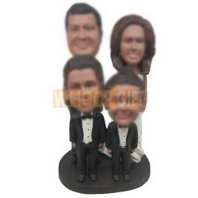 personalized happy family couple with two sons bobbleheads