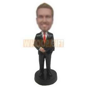 personalized businessman in black suit red tie with purse bobblehead