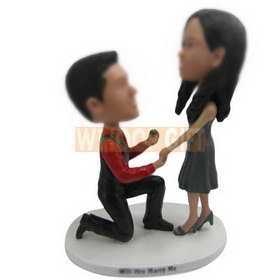 personalized custom wedding cake topper boyfriend proposing to girlfriend