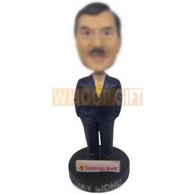 personalized custom banker in dark blue suit bobblehead