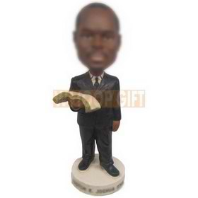 personalized custom businessman reading book bobblehead