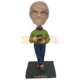 personalized custom woman wearing green sweater with a cup bobblehead