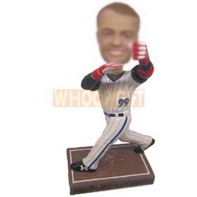 personalized custom baseball player wearing red gloves pitching the ball