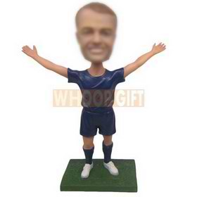 custom soccer player wearing soccer jersey white soccer shoes bobblehead