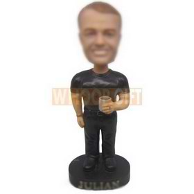 personalized custom cool guy in black t-shirt and trousers bobblehead