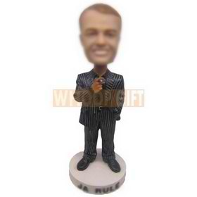 personalized businessman in striped suits bobblehead